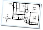2DK賃貸「メゾン・ボヌール・ヴィ」202号室の間取です